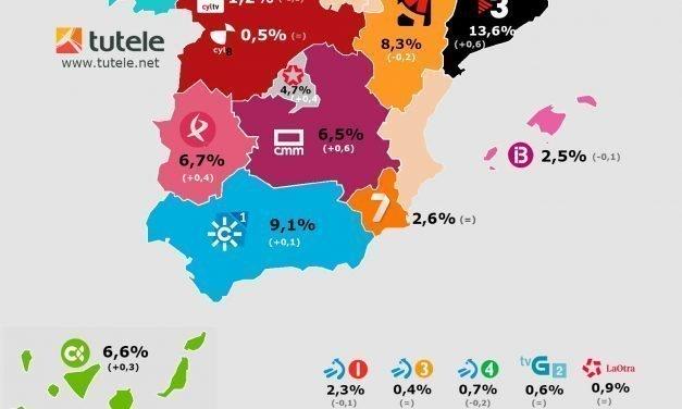 Mapa audiencias autonómicas enero 2018