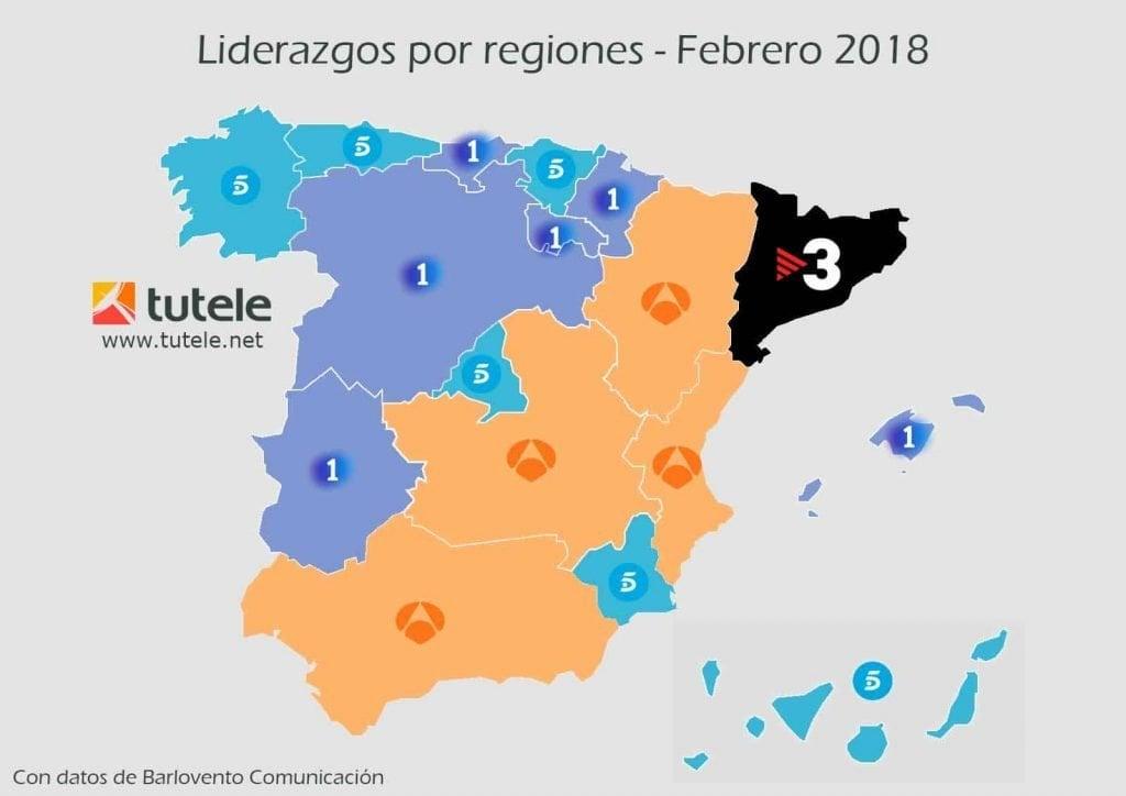 El mapa de las audiencias de febrero 2018