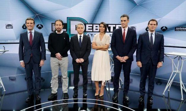 El debate de Atresmedia arrasa y roza los 9,5 millones de espectadores