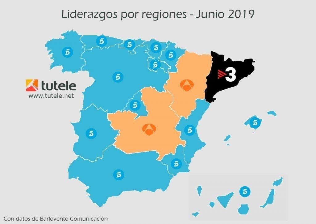 El mapa de las audiencias de junio 2019