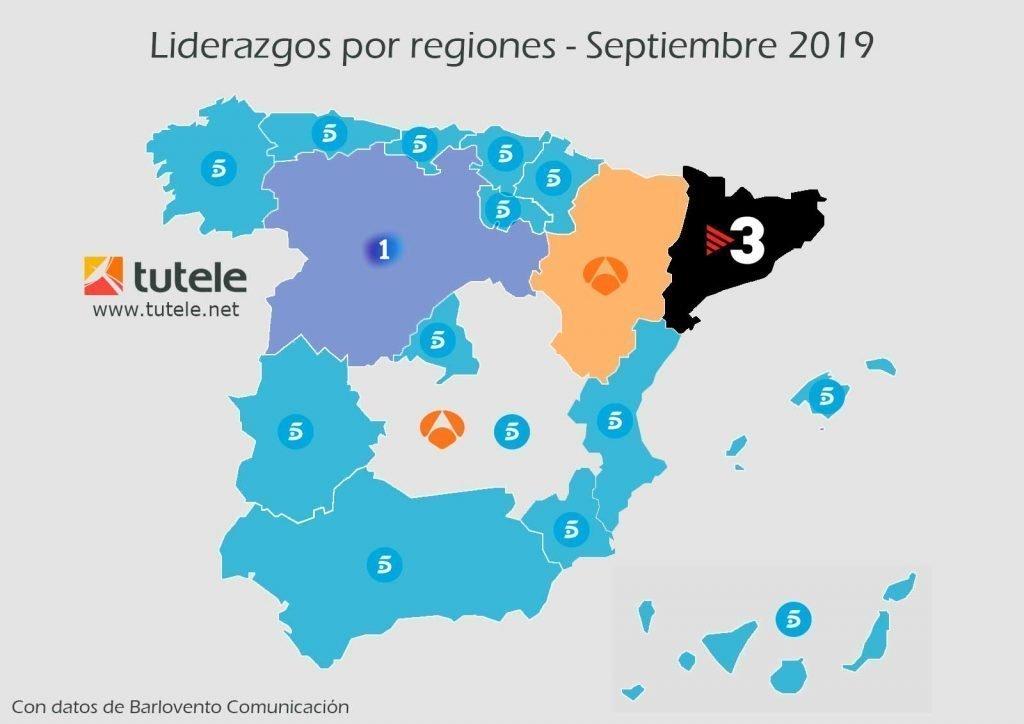 mapa audiencias por regiones septiembre 2019